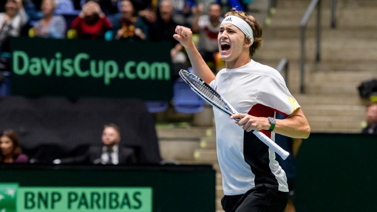Sascha Zverev celebrates winning a point for Germany in the Davis Cup