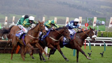 Right is DIAMOND KING with D Russell wins from Centre UBAK 3rd and left BLAZER 4th in Coral Cup at Cheltenham 16-3-16.