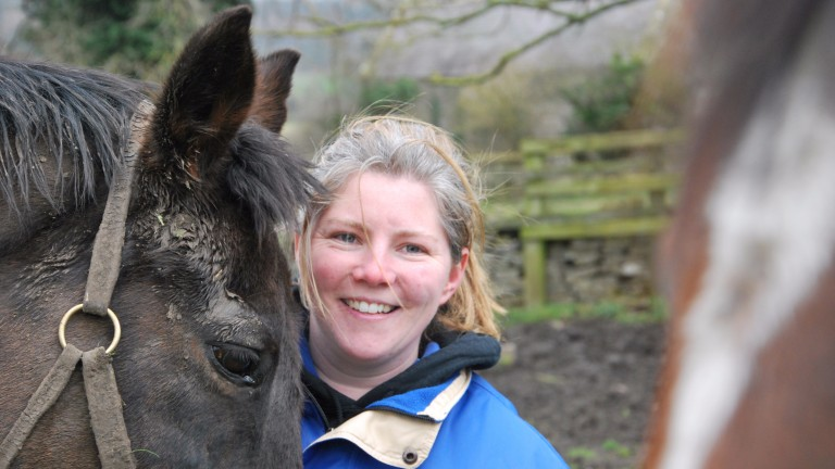 Gemma Hogg with her retired horses Deep Water and Memory Cloth