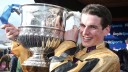 PUNCHESTOWN TUES 28 APRIL 2015  PICTURE: CAROLINE NORRIS   DANNY MULLINS WITH THE TROPHY FOR THE BOYLESPORTS CHAMPION STEEPLECHASE WHICH HE WON ON FELIX YONGER