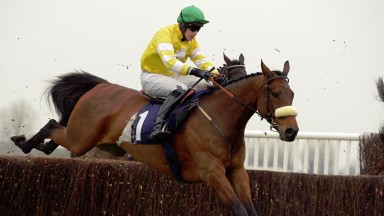 CAROLE'S DESTRIER with M Byrne wins Novice Chase at Wetherby 17-3-15.
