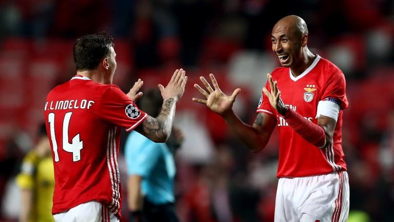 Benfica defender Victor Lindeloef (left) celebrates with Luisao