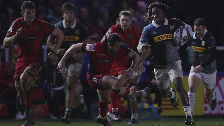 Marland Yarde of Harlequins makes a break against Edinburgh