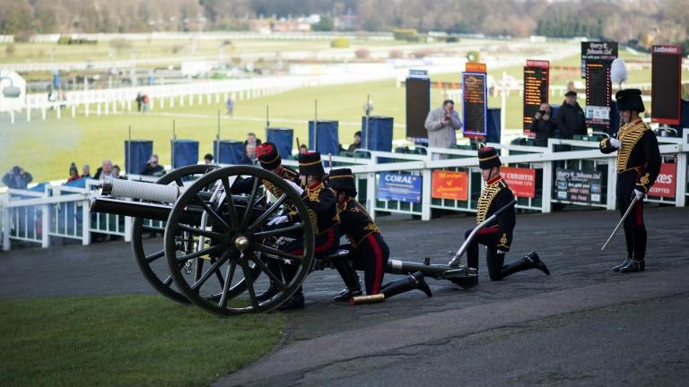 Ready, aim, fire: racegoers were treated to the sight of the Royal Artillery firing a gun