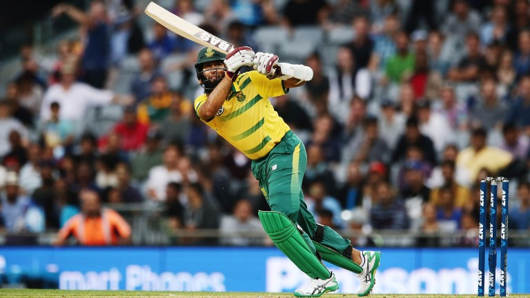 Hashim Amla clips off his legs dujring South Africa's T20 win over New Zealand