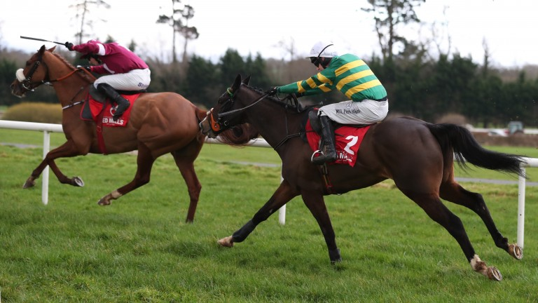Jezki (right) chases after Tombstone and Bryan Cooper during the Red Mills Trial Hurdle Gowran Park Photo: Patrick McCann 18.02.2017