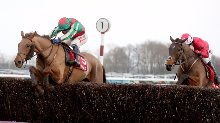 Vieux Lion Rouge takes the last ahead of Blaklion on his way to landing the Grand National Trial