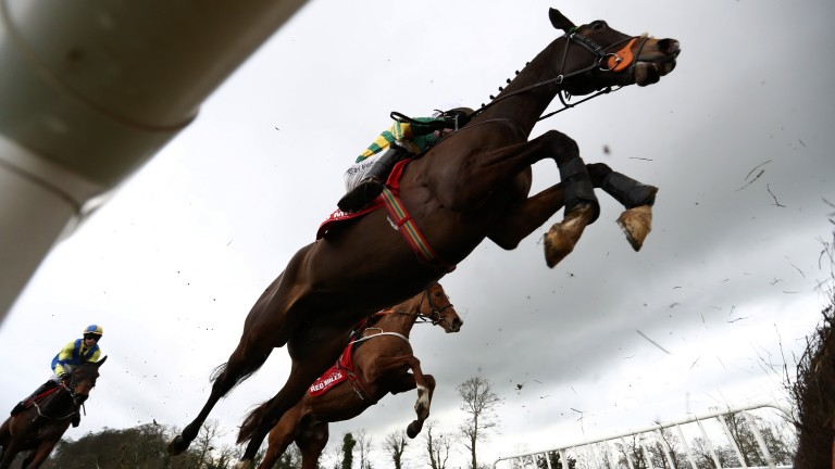 Brave: Jezki is at full stretch as he attacks a hurdle under Mark Walsh
