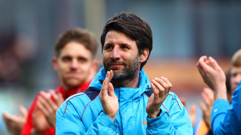 Lincoln manager Danny Cowley celebrates the win over Burnley
