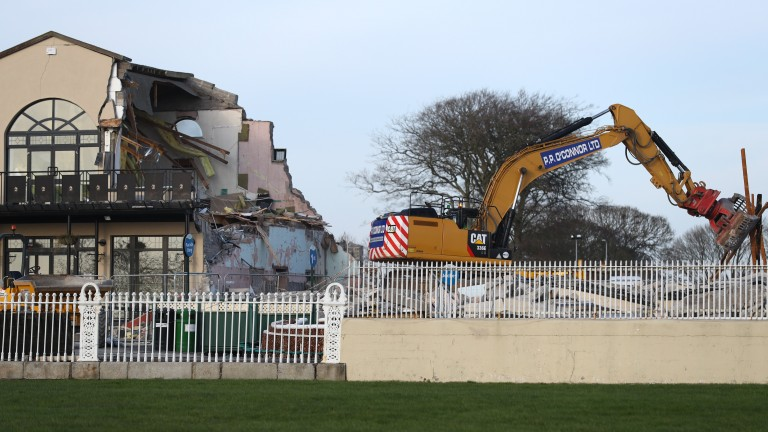 The old weighing room at the Curragh getting razed