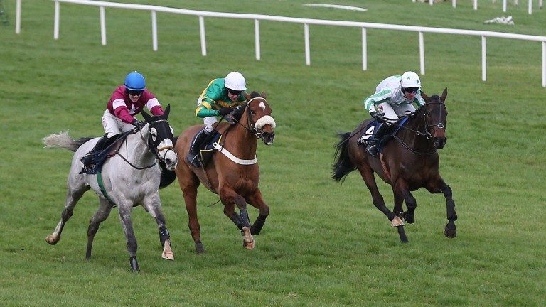 Our Duke, far side en route to victory at Leopardstown over Christmas, could tackle the Boylesports Irish Grand National