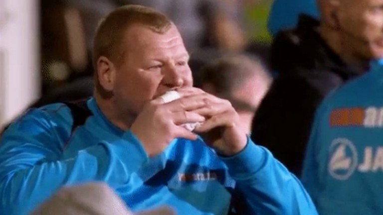 Wayne Shaw: seen on television eating a pie during Monday night's FA Cup tie