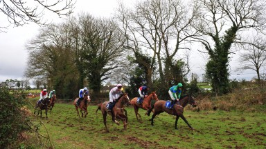 Kildorrery PTP 19-2-17 Action from the Winners Of Two Race won by FENNO'S STORM & Declan Queally (in front no.7)(Photo HEALY RACING)
