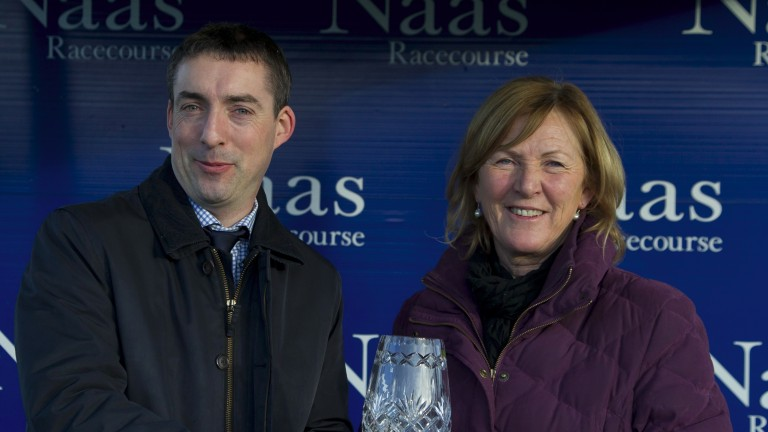 Presentation by Tom Ryan to Patricia Dreaper after Venitien De Mai had won the Woodlands 100 Club Leinster National Handicap Chase Naas Photo: Patrick McCann 06.03.2016