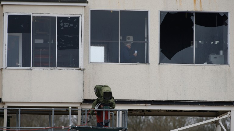 Storm Doris damaged the window of the Chelmsford commentary box