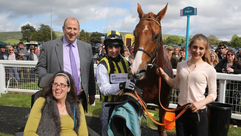 Joe Colliver with BHA chief executive Nick Rust and wife Margaretta Rust after winning on Aldebrook Lad at Cartmel in 2015