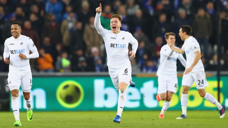 Swansea's Alfie Mawson scored against Leicester
