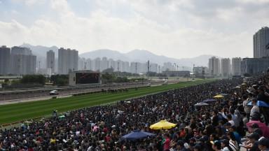 HONG KONG - DECEMBER 11:  General view of crownds wathing Race 2 during Hong Kong International Racing at Sha Tin Racecourse on December 11, 2016 in Hong Kong, Hong Kong.  (Photo by Vince Caligiuri/Getty Images)