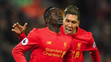 Liverpool's Sadio Mane and Roberto Firmino