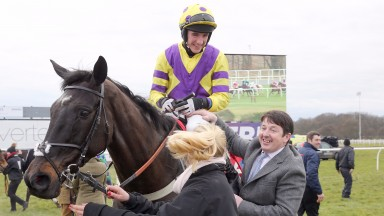 Lorcan Murtagh being congratulated by Tony Dobbin after winning the 2016 Betfred Eider Chase on Rocking Blues