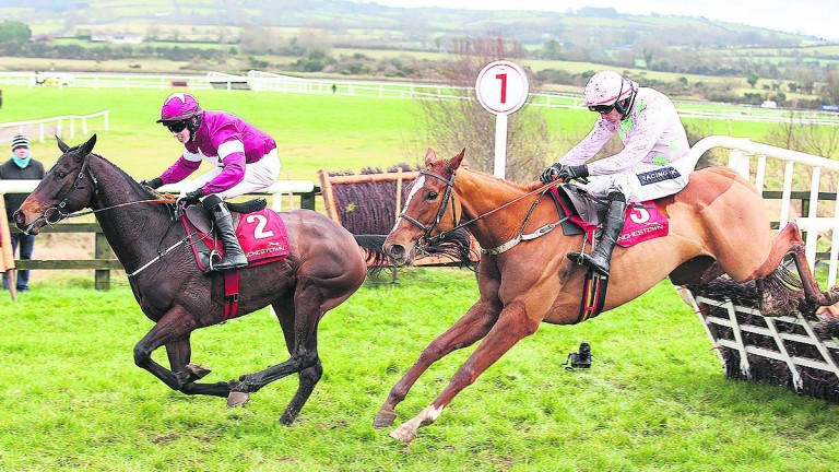 Limini and Ruby Walsh (right) are about to reel in Apple's Jade at Punchestown