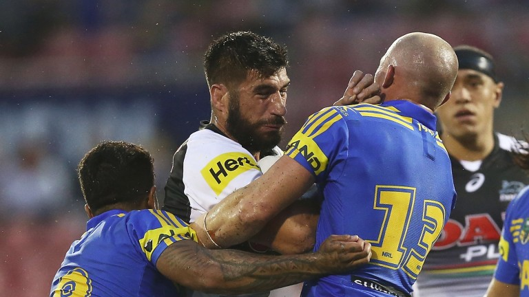 New Panthers prop James Tamou attempts to break the line