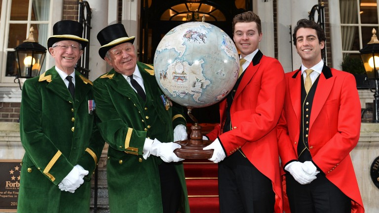 Ascot greencoats hand the globe to redcoats from The Goring
