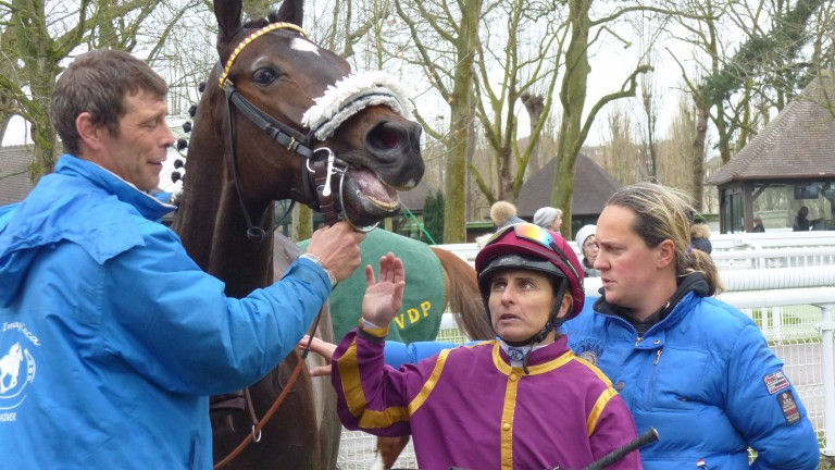 Delphine Santiago with Milow and trainer Ana Imaz Ceca after becoming the first woman to ride a winner with France's new 2kg allowance for females