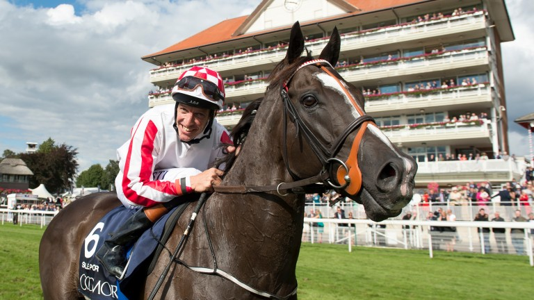 Star sprinter Sole Power and Richard Hughes after winning the Nunthorpe Stakes in 2014