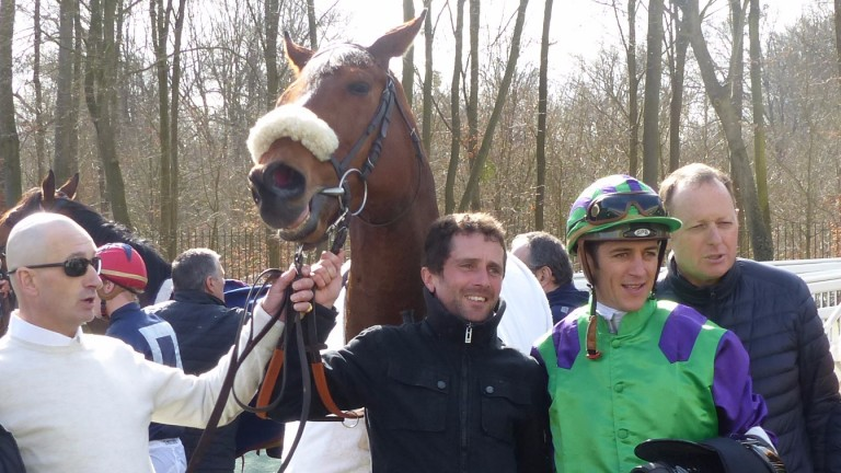 Finsbury Square with Christophe Soumillon and trainer Fabrice Chappet (right ) after winning the Prix Anabaa