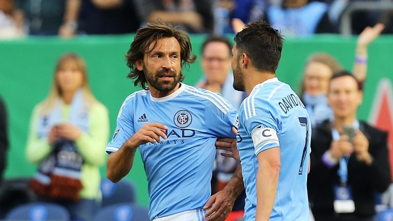 New York City's Andrea Pirlo and David Villa