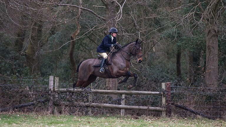 Balthazar King and Izzi Beckett in action on the hunting field