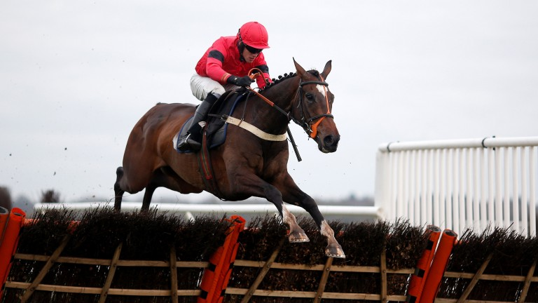Debece ridden by Alan Johns clears the last to win the Physicool Handicap Hurdle at Newbury on Friday