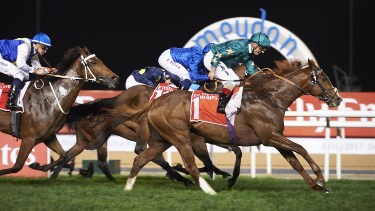 Decorated Knight charges late to nail Folkswood in the Group 1 Jebel Hatta at Meydan on Saturday