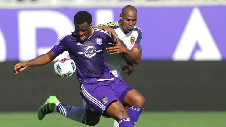 Orlando's Cyle Larin (purple) should punish any sloppy defending