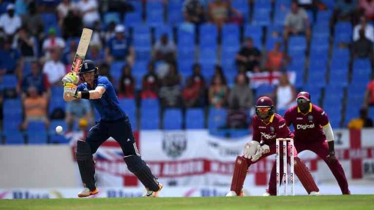 Sam Billings clips the ball through the leg side in the first ODI