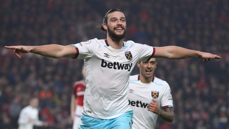 Andy Carroll celebrates his second goal against Middlesbrough