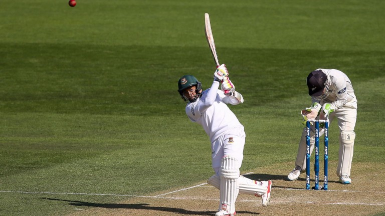 Mushfiqur Rahim dances down the wicket and lofts over the top on his way to a ton against New Zealand