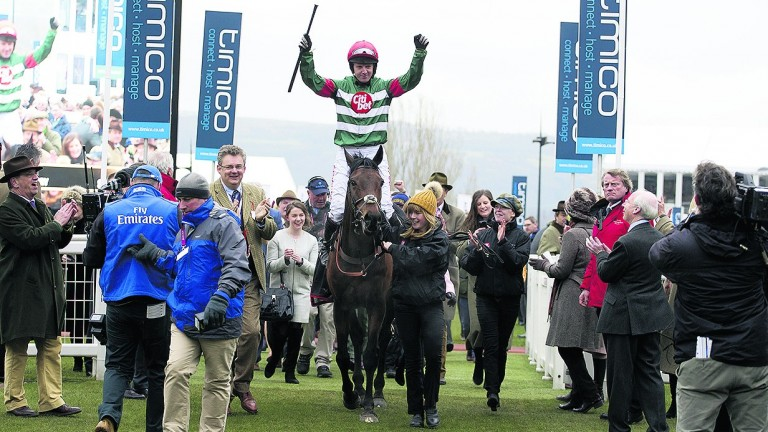 Noel Fehily celebrates after enjoying Cheltenham Festival success on Unowhatimeanharry 12 months ago