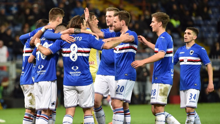 Sampdoria celebrate beating Pescara