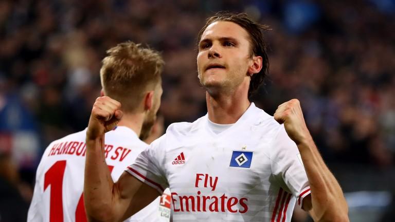 Hamburg's Albin Ekdal scored against Hertha Berlin