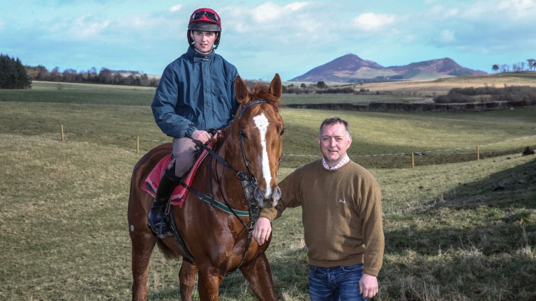 Trainer Stuart Coltherd with Captain Redbeard in the Scottish Borders
