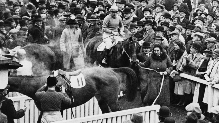 Dorothy Paget leads in Golden Miller and Gerry Wilson following their 1934 Gold Cup win