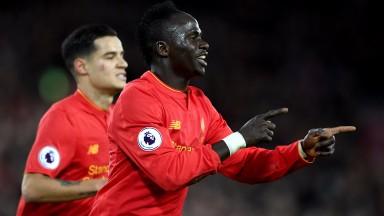 Sadio Mane celebrates scoring against Arsenal