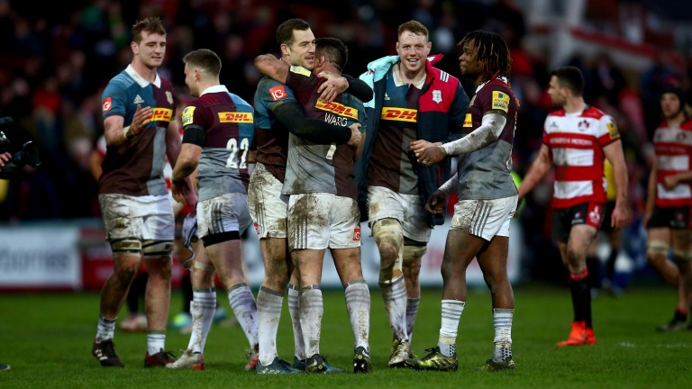 Harlequins celebrate their comeback win over Gloucester