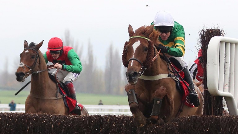 Barry Geraghty and Uxizandre (right) on their way to Shloer Chase success at Cheltenham in 2014