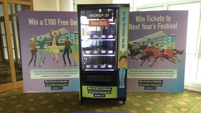 Roll up, roll up . . . the Racing Post vending machine has treats galore