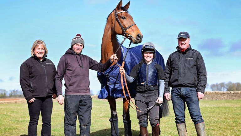 Hugely popular cross-country veteran Any Currency poses with connections including Martin Keighley (right)