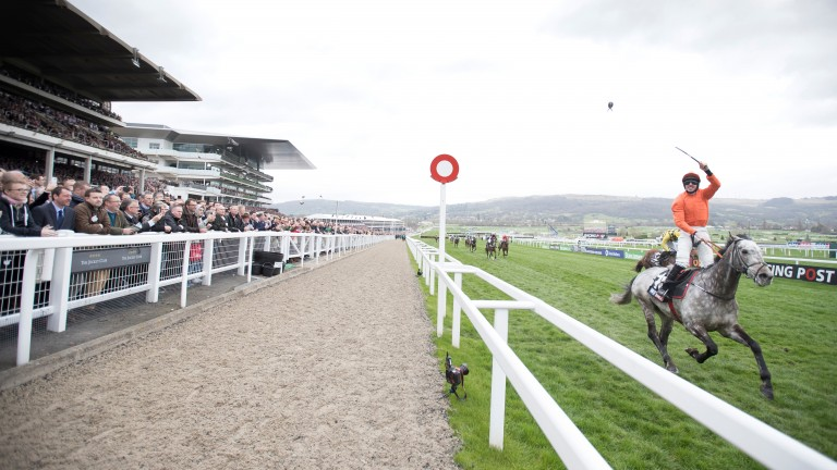 Jack Kennedy shows his delight as he crosses the line on Labaik in the Supreme Novices'