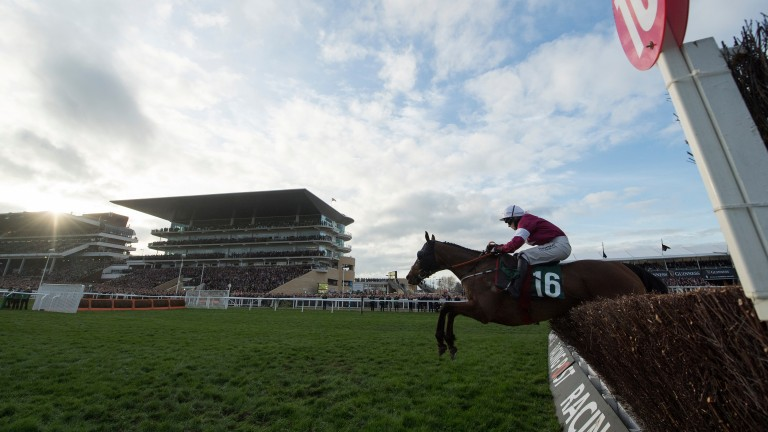 Tiger Roll (Lisa O'Neill) jumps the last on the way to victory in the National Hunt Chase